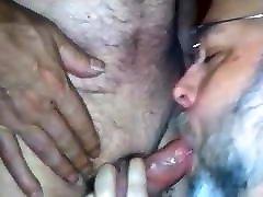 Silver daddy bear blow job