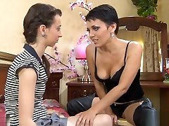 Russian mommy strap-on young girl