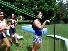 Beauties play with strapons