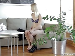 Hot blonde GF Violette Pure is happy to ride strong cock in the morning