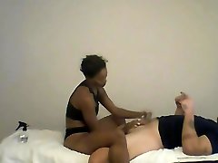 Ebony MILF giving American Stud Lingam Penis Massage