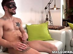 Masked muscular homo masturbates and sucked by mature gay