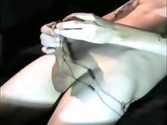 masturbating with vibrating penis head massager thigh boots and stockings masturbator
