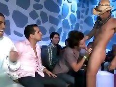 Male stripper hunk gets blowjobs