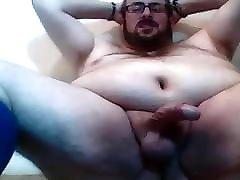 UK chubby bear Bareboots strokes his fat cock