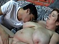Busty bbw loves riding his young meat