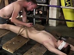 Naked and restrained, twink boy Kamyks feet are well used