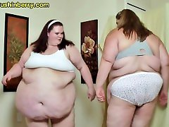 SSBBW Babes Sumo Smash Their trowser girl Bellies Into Each Other For Fat Slapping