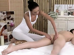 Lesbian babe pussy massaged with tool