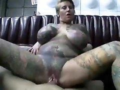 shorthair blonde pierced tattoo huge tits play with balls