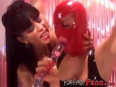 Masked biceps cum tied up and toyed by naughty femdom