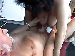 Old amateur girls romance sex home action with cum on tits