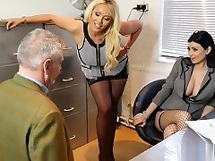 Sexy bosses turn office perv into nylon fake agent fucks anal worship slave
