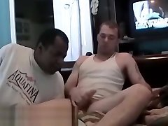 Amateur homo wanks and receives blowjob from black guy