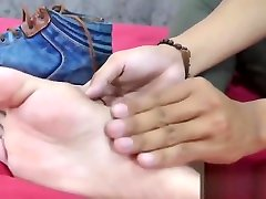 Skinny marla casting twink teases with his feet and masturbates solo