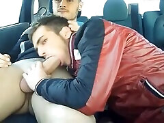 Two Spanish Young hunks rawdogging in their car