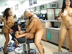 Lacey DuValle, Jenaveve Jolie and Olivia OLovely Fuck And A Haircut
