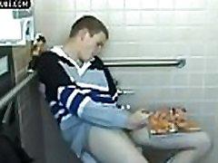 College Twink Jerks Cumshot in Dorm Toilet