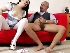 Glamorous brunette fucked by alison in house man
