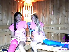 Fetish-Concept.com - 2 girls with long cast leg in sauna LCL
