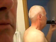 Pervert grandpa Ulf Larsen pee and wank in public toilets and hotels