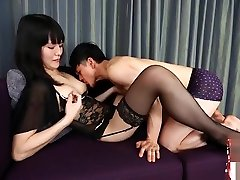 Lingerie amateur redhead gangbanged goes down on dude