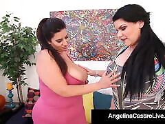 Huge Boobed BBWs Angelina Castro & Sofia Rose Rub Pussies!