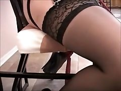 Huge tits tied up has orgasm on dildo