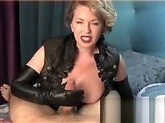 dominatrix gifs a handjob in leather gloves
