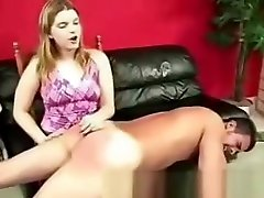 Guy gets spanked by his girlfriend
