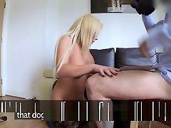 Blonde In Black Stocks Fucked On Casting