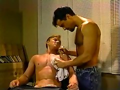 Latin barber shaves and fucks red head
