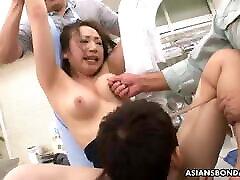 Ayumi Wakana got multiple girl only hand working toys inside her hairy pussy