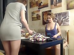 Lesbian girl urethra playing in the kitchen having vibrators in