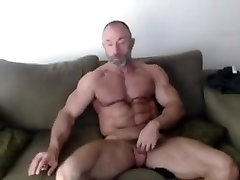 Old muscle daddy with huge biceps, jerking off