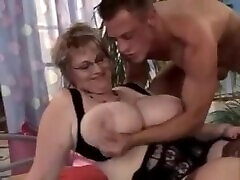 Mature BBW with Glasses and Big Tits gets fucked by young guy