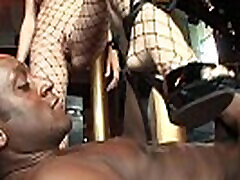 Busty cumshot controle gets analized by a white and a black dick