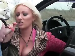 Busty MILF Sucks Cock in Car and Gets Cum in Mouth
