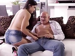 OLD4K. Bald handsome dad has powerful cock for busty brunett