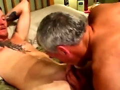 Mature gay duo give each other facials