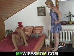 Small sexiy bip blonde mother-in-law helps him cum