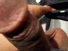 Jacking off in footjob with shoes bathroom