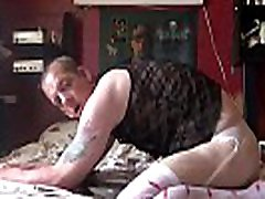 crossdressing bisexual amateur loves the taste of his own ass as he rides his 7 inch dildo