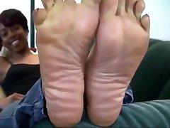 Ebony femdon sandal pedicure Feet
