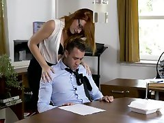 BABES-COM-Eva is horny for her boss and want to please him with her pussy