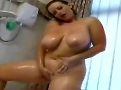 Delicious play mom and boy son Friend with big tits taking a shower