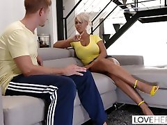 LoveHerFeet - Blonde Milf With tits creampe Tits Gives a Dreamy Footjob