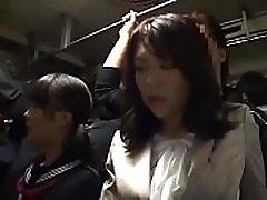 Sensitive Japanese korean booobs Milf was groped to orgasm on bus - ReMilf.com