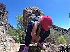 PISS PISS TRAVEL - Young girl tourist peeing in the mountains Gran Canaria. Public Canarias