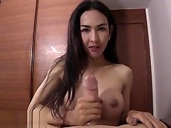 Sexy busty nude girl blowjob shemale swallowed his strong cock